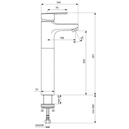 Смесител стоящ за умивалник с удължено тяло 250 мм B0358AA