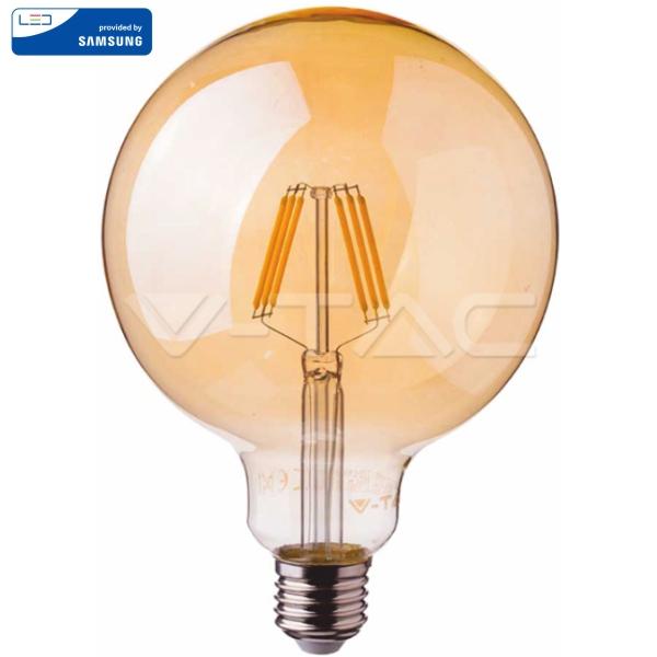 LED Крушка - SAMSUNG ЧИП Filaмent 6W E27 G95 Aмber 2200K VT-296