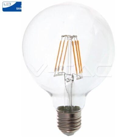 LED Крушка - SAMSUNG ЧИП Filament 6W E27 G95 Amber 2700K VT-286