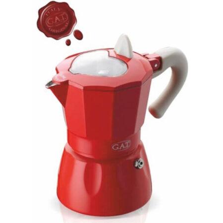 Алуминиева кафеварка серия РОСАНА за 3 кафета червена